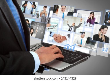 close up of businessman's hand working with laptop in the office. conceptual image