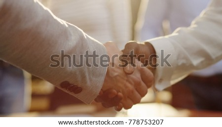 Close Businessmen Hands Shaking Multi Ethnical Stock Photo