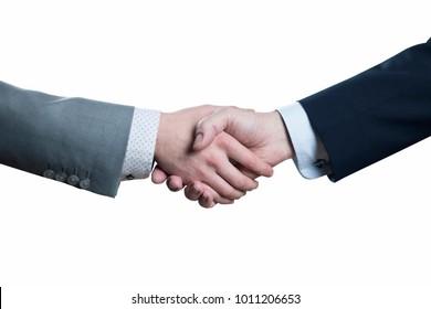 Close up of businessmen handshake - partnership, negotioation