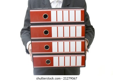close up of businesswoman holding file folders on white background