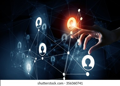 Close up of businesswoman touching with finger network concept on screen