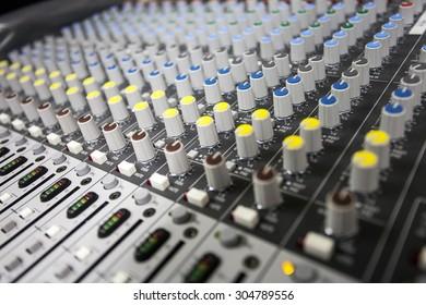 Close up buttons control sound mixer