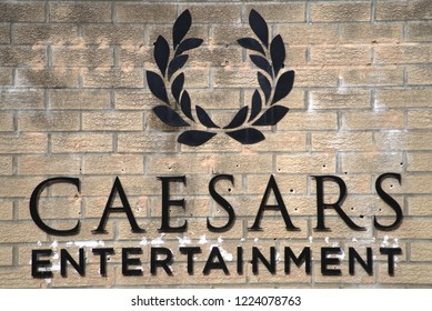Close up of the Caesars Entertainment logo on the companys regional human resource and training office sign in Atlantic City, NJ. (Photographed: 11/7/2018).