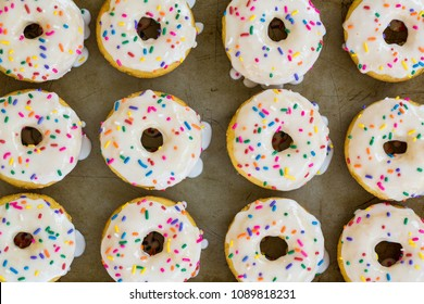 Close up of cake donuts with colorful sprinkles on a sheet pan