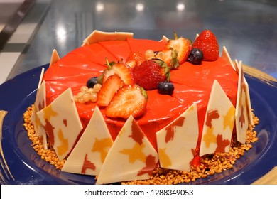 Close up of cakes for customer inside restaurant