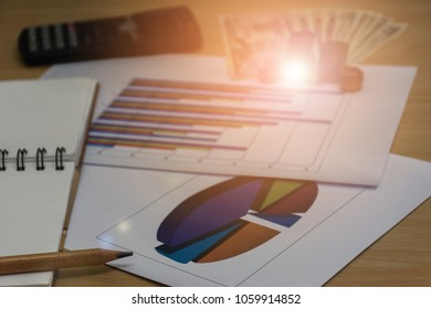 Close up calculator with dollar banknote and coin on bank account background. Financial hand writing and calculator in office. Finance saving economy concept. (selective focus)