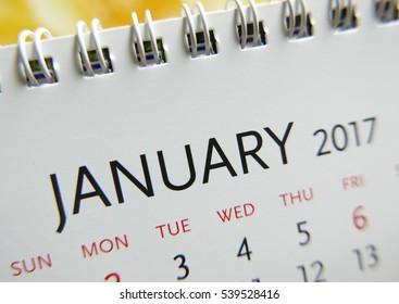 Close up calendar of  2017