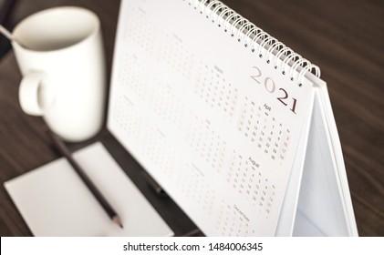 Close up calendar 2021 on desktop