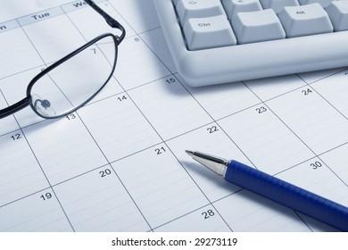 close up of a calendar
