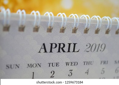 Close up calendar of April 2019