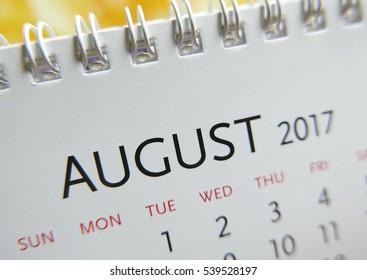 Close up calendar of August 2017