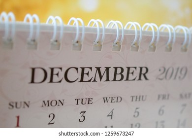 Close up calendar of December 2019