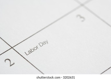 Close up of calendar displaying Labor Day.