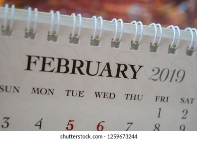 Close up calendar of February 2019