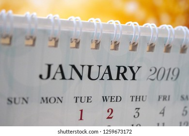 Close up calendar of January 2019