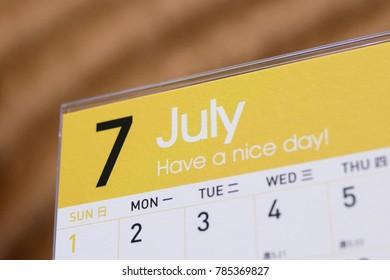 Close up calendar of July 2018