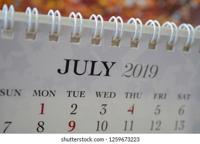 Close up calendar of July 2019