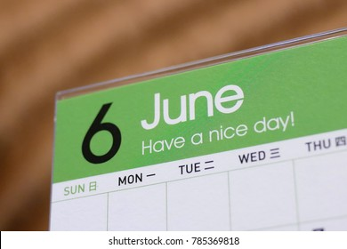 Close up calendar of June 2018