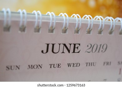 Close up calendar of June 2019