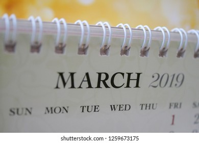 Close up calendar of March 2019
