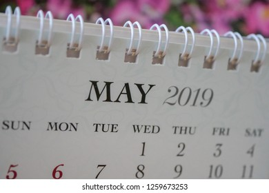 Close up calendar of May 2019