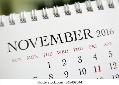Close up calendar of November 2016