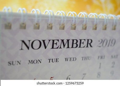 Close up calendar of November 2019