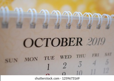 Close up calendar of October 2019