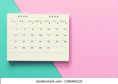 close up of calendar on the colorful table, planning for business meeting or travel planning concept