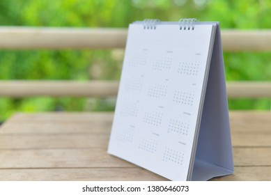 Close up calendar on green tone in planning concept.