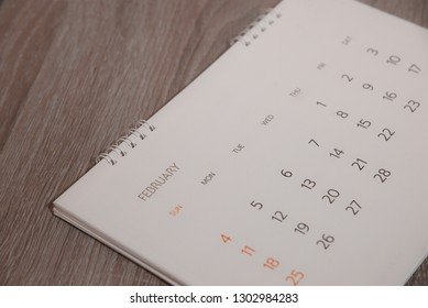 Close up calendar on table.