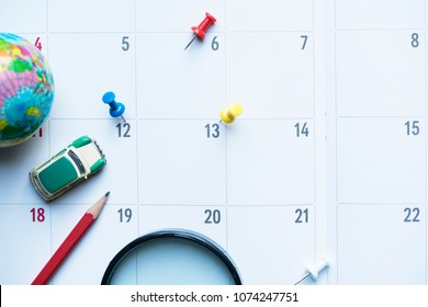 close up of calendar on the table, planning for travel planning concept