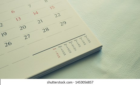 Close up calendar page  in pastel tone.