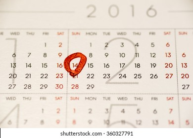 Close up of calendar page showing February 14, Valentine's day
