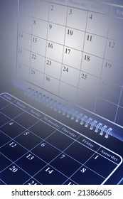 Close Up of Calendar Pages in Blue Tone