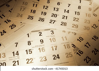 Close Up of Calendar Pages in Warm Tone