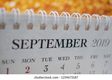 Close up calendar of September 2019