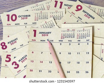 close up of calendar in year 2019, next year. calendar with January month and other months in a year.