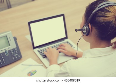 close up call centre helpdesk woman work at operation room concept