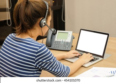 close up call centre woman working office room