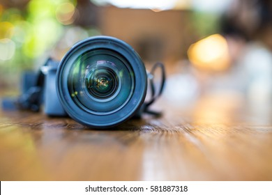 Close up of Camera lens and blurred background