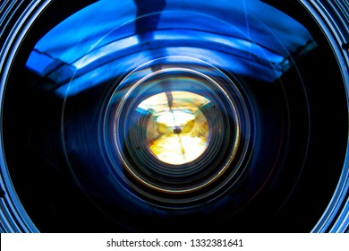 Close up of camera lens glass