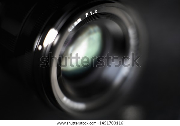 Close up of camera lens illustrating extremely shallow depth of field