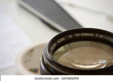 close up of a camera zoom lens