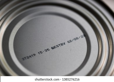 Close up of a can of food's best by date.