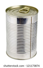 Close up of a can isolated on white with clipping path