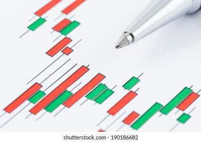 close up of candlestick stock chart with pen