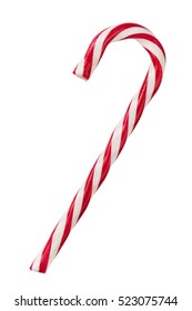Close up of candy cane isolated on white background
