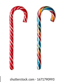 Close up of candy colorful canes isolated on white background.