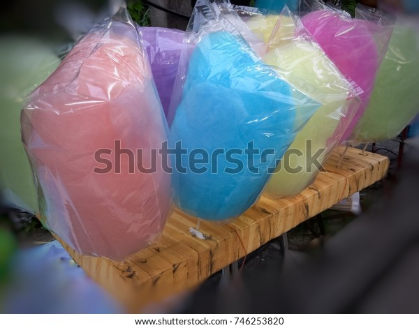 Close up of candyfloss in market.